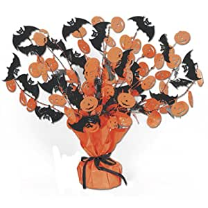 Beistle Bat and Pumpkin Gleam and Burst Centerpiece, 15-Inch