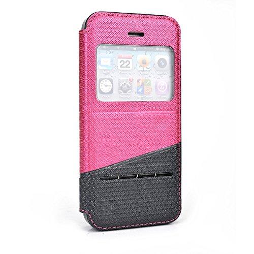 Pink | Grey Apple Iphone 5 , 5S Just Fit Flip Case W/ Stand Bonus Ekatomi Screen Cleaner front-565620
