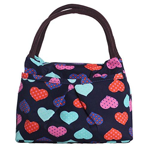 ZXKEE Colorato Cuori Nero Donne Borsetta Lunch Bag Borsa Porta pranzo