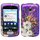 Purple Hawaiian White Flower Green Vine Orange Paint Design Rubberized Snap on Hard Shell Cover Protector Faceplate Cell Phone Case for T-Mobile LG Optimus T P509 / LG Thrive/ AT&T LG Phoenix P505 + Clear LCD Screen Guard Film