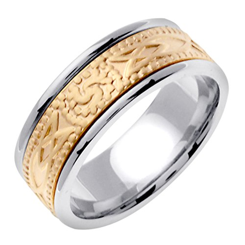 Men'S Solid 18K Two-Tone Gold Triskele Inlay Celtic Wedding Band (8Mm)