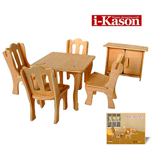 Authentic High Quality i-Kason® New Favorable Imaginative DIY 3D Simulation Model Wooden Puzzle Kit for Children and Adults Artistic Wooden Toys for Children - Table Combination
