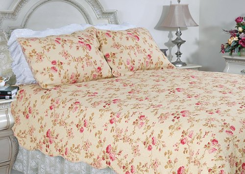 [Blooming Summer] 100% Cotton 3PC Classic Floral Vermicelli-Quilted Quilt Set (Full/Queen Size)