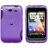 Gadgeo Purple Gel Silicone TPU Case Cover for HTC Wildfire S with Screen Protector and Cleaning Cloth