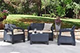 Keter Corfu 4 Seater Lounge Set - Graphite with Cream Cushion