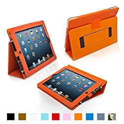 Snugg iPad 3 Case - Leather Case Cover and Flip Stand with Elastic Hand Strap and Premium Nubuck Fibre Interior -Orange