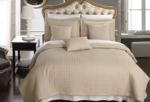 Twin / Twin Extra Long size Linen / Beige Coverlet 2pc set, Luxury Microfiber Checkered Quilt by Royal Hotel (Twin Quilted Coverlet compare prices)