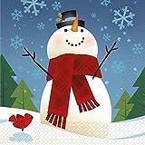 Joyful Snowman Christmas Paper Napkins, Pack of 16