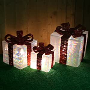 Set Of 3 Pre Lit LED Transparent Christmas Gift Boxes Decorations Illuminated