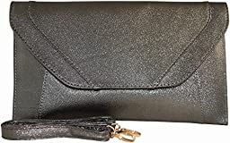Patzino Fashion Collection, Faux Leather Women\'s Envelope Clutch/ Purse (Classic Pewter)