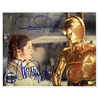Carrie Fisher And Anthony Daniels Autographed 8x10 Star Wars Echo ...