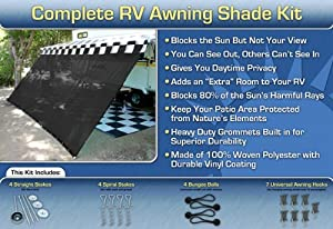 Black RV Awning Shade Net Complete Kit 8 x 10 RV Awning Shade Kit