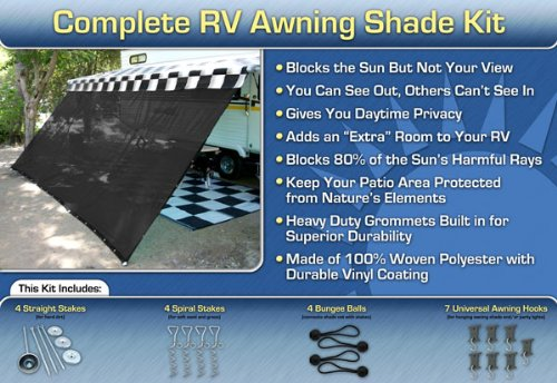 Black RV Awning Shade Net Complete Kit 12 x 20 RV Awning Shade Kit