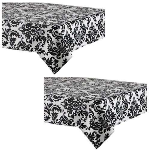 Black Damask Party Tablecovers - 2 Pieces