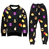 ZOEREA Unisex Hipster Cute Emoji Cartoon Faces Joggers Sportswear