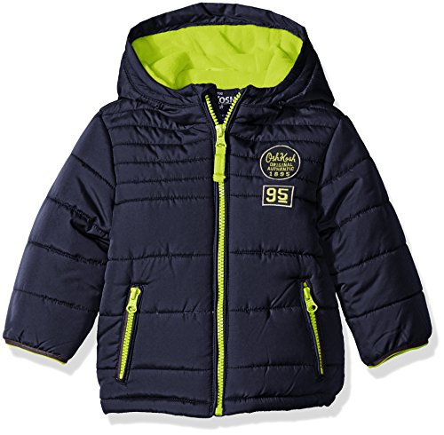 Osh Kosh Boys' Infant Classic Heavyweight Solid Puffer Coat, Navy, 24 Months