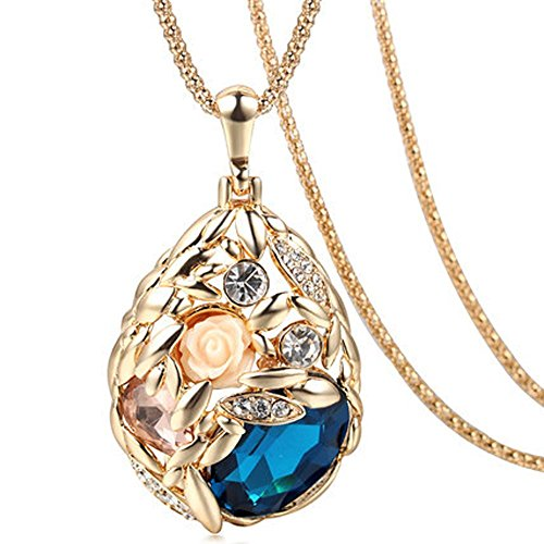 The Starry Night Champaign Gold Color Drop Flower Elegant Blue Pendant Necklace For Fashion Womens Girls Winter Accessories