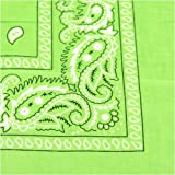 "Bandanas By The Dozen 100% Cotton 12-Pack 22"" x 22"" - Paisley Neon Green"