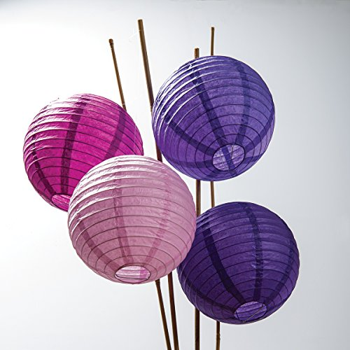 Luna Bazaar Paper Lanterns (8-Inch, Multicolor Purples, Set of 12) - Rice Paper Chinese/Japanese Hanging Decorations - For Home Decor, Parties, and Weddings (Rice Paper Lantern 12 compare prices)