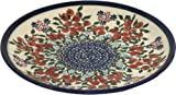 Polish Pottery Ceramika Boleslawiec 1102/282 Royal Blue Patterns Dessert Plate, 7-1/2-Inch, Red Berries and Daisies