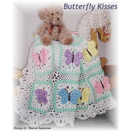 Image: Butterfly Kisses baby afghan or blanket crochet