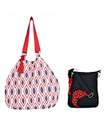 Combo of Tassel Red And Blue Jholi with Black Small Sling Bag