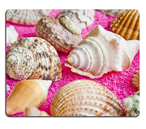 Luxlady Natural Rubber Mousepads IMAGE ID 30975763 Photo of lot seashells on color towel
