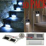 TSSS® (10-Pack) Solar Powered Stainless Steel Staircase LED Solar Step Lights, Solar Dock Light