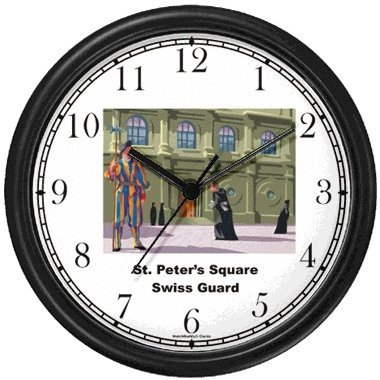 St. Peter's Square Swiss Guard Italy - Famous Landmarks - Theme Wall Clock by WatchBuddy Timepieces White Frame