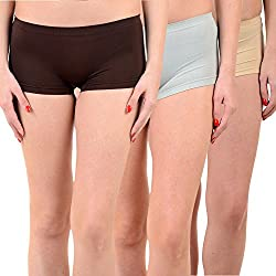 Mynte Women's Sports Shorts (MEWIWCMBP-SHR-99-98-96, Brown, Grey, Beige, Free Size, Pack of 3)
