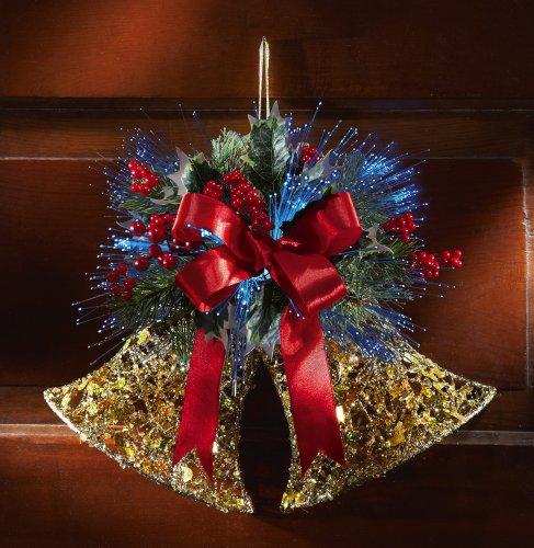 Fiber Optic Glittered Jingle Bells Holiday Wall Decor