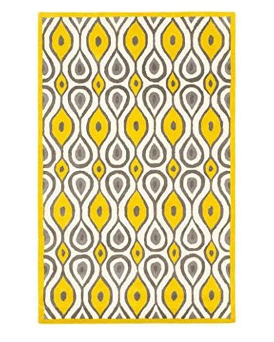 Handmade Stella Wool Rug, Cream/Yellow, 5' x 8'