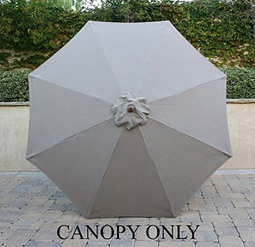 9ft Market Umbrella Replacement Canopy 8 Ribs Taupe (Canopy Only) (Patio Replacement Cover compare prices)