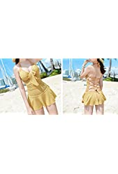 Boutique Bastone Alluring Halterneck Backless Drawstring Ruffled Lace One-piece Swimwear for Women