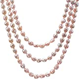 "HinsonGayle AAA Handpicked Ultra-Iridescent 10-11mm Naturally Pink Free-Form Baroque Cultured Freshwater Pearl Rope Necklace (65"")"