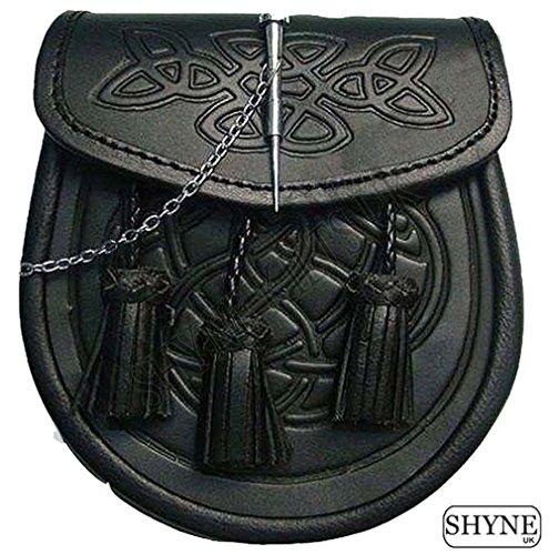 sporran-cuir-noir-motifs-celtiques-en-relief-chaine-pour-kilts