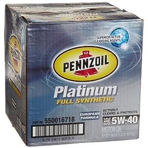 Pennzoil 550016718 6pk platinum 5w 40 european for Pennzoil full synthetic motor oil