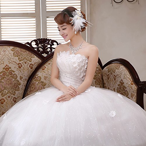d700581777a0 Clover Bridal 2017 New Design Strapless Applique Beaded Pleats Ball Gown  Wedding Dress Ivory Pure White