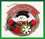 【ELEEJE】 クリスマスには やっぱり リース 可愛い 雪だるまの サンタが お出迎え(雪だるまA)