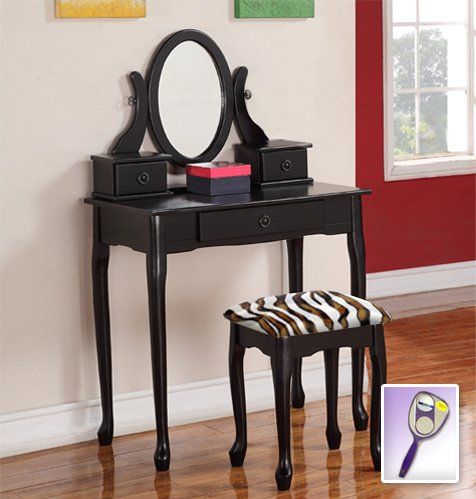 New Black Wooden Make Up Vanity Table With Mirror & Brown & White Zebra Faux Fur Themed Bench front-9062