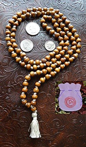 8MM TULSI HOLY BASIL PRAYER BEADS JAPA MALA NECKLACE HAND KNOTTED. KARMA (108+1) BEADS. BLESSED & ENERGIZED HINDU TIBETAN BUDDHIST SUBHA ROSARY MALA FOR NIRVANA, BHAKTI, FOR REMOVING INNER DOSHAS, CHANTING AUM OM, AWAKENING CHAKRAS, KUNDALINI THROUGH YOGA MEDITATION - USA SELLER