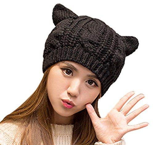 Knit Hat With Animal Ears Pattern : Women Fashion Winter Season Hat Cat Ear Crochet Braided ...