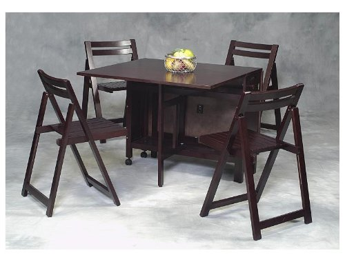 5 pcs Drop Leaf Table Set - Solid Beechwood and Veneer Wenge Finish