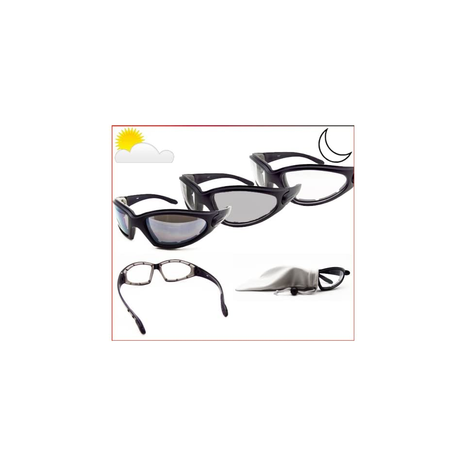 691a2fe0c7e5f Motorcycle Transition Glasses Photochromic Lens Clear to Smoke with  Polycarbonate Safety Lens and Eva Cushion Paddeed