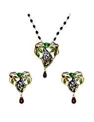 Gehna Ruby Gemstone Studded Pendant & Earring Set With Enamel Work In Solid Silver