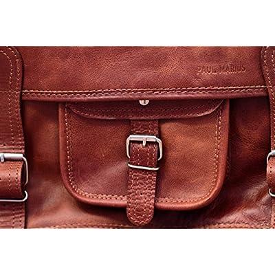 School Satchel (L) LIGHT Vintage Leather Satchel Shoulder Bag (A4) Unisex PAUL MARIUS Vintage & retro - satchels