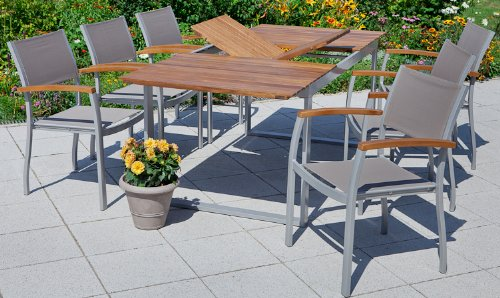 komplett gartenm bel set 5 teilig akazienholz mit aluminium gestell 1 ausziehtisch 4 sessel. Black Bedroom Furniture Sets. Home Design Ideas