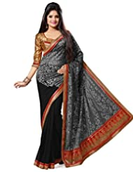 Superb Grey And Black Color Faux Georgette And Net Brasso Saree.