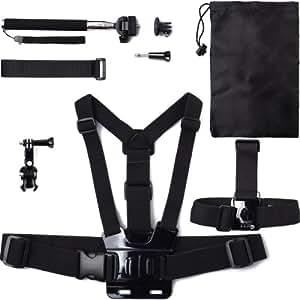 Azzuro® Harnais de poitrine + bandeau de fixation sur Tête + trépied Manfrotto Adaptateur pour GoPro Hero 3+ 3 2 1 OS014
