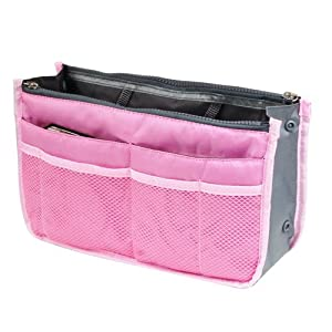 eFuture(TM) Pink Fashion Multi-function Travel Makeup Insert Handbag Organiser Purse Large liner Organizer Pouch Bag +eFuture's nice Keyring